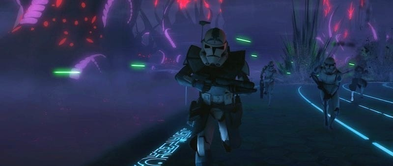Fives and the 501st escaping an ambush on Umbara