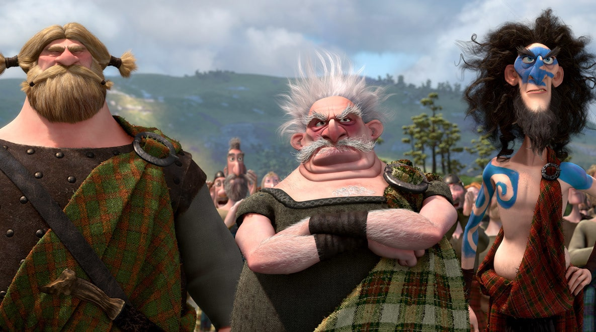 Lord MacGuffin (played by Kevin McKidd), Lord Dingwall (played by Robbie Coltrane), and Lord Macintosh (played by Craig Ferguson) watch over the Highland Games in the movie Brave
