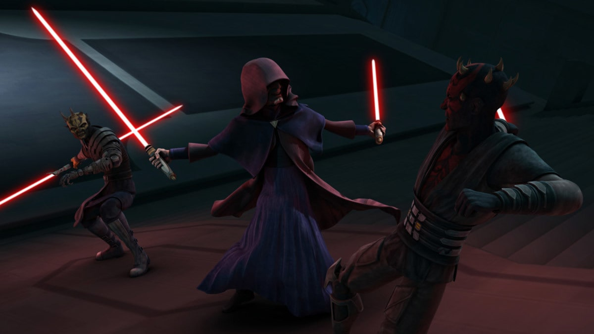 Darth Sidious dueling Darth Maul and Savage Opress