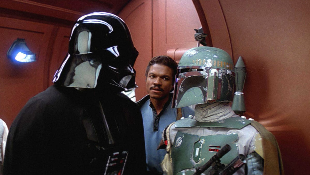 Darth Vader, Lando, and Boba Fett discussing the fate of Han Solo