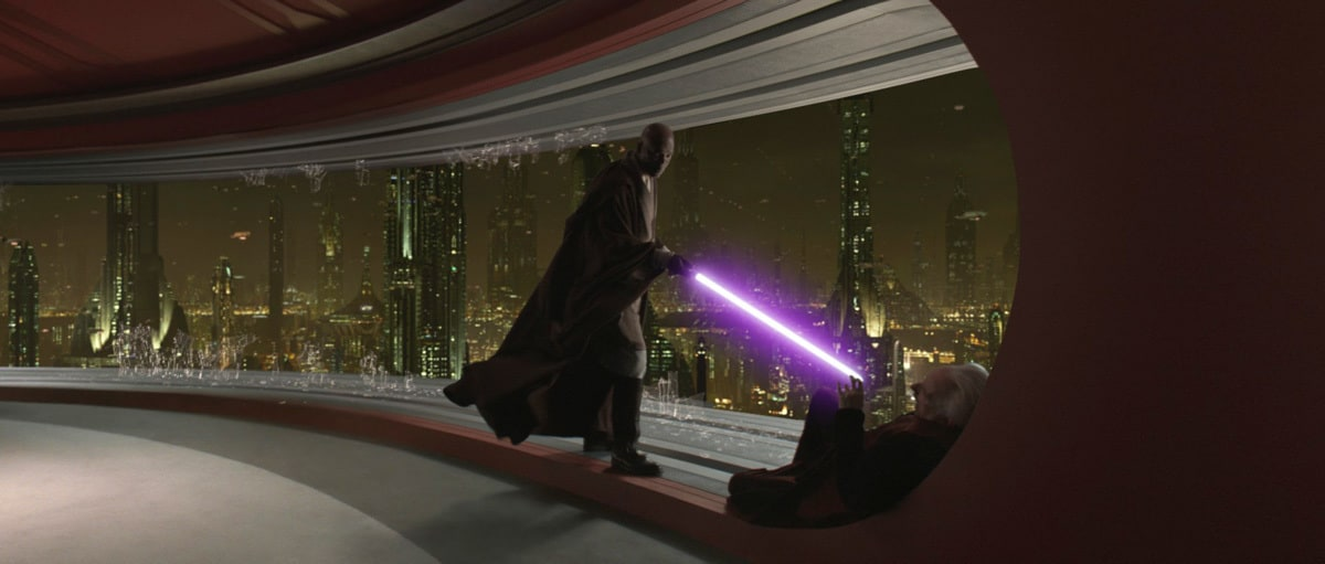 Mace Windu subduing Darth Sidious