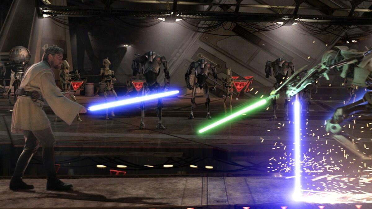 Obi-Wan Kenobi dueling General Grievous on Utapau