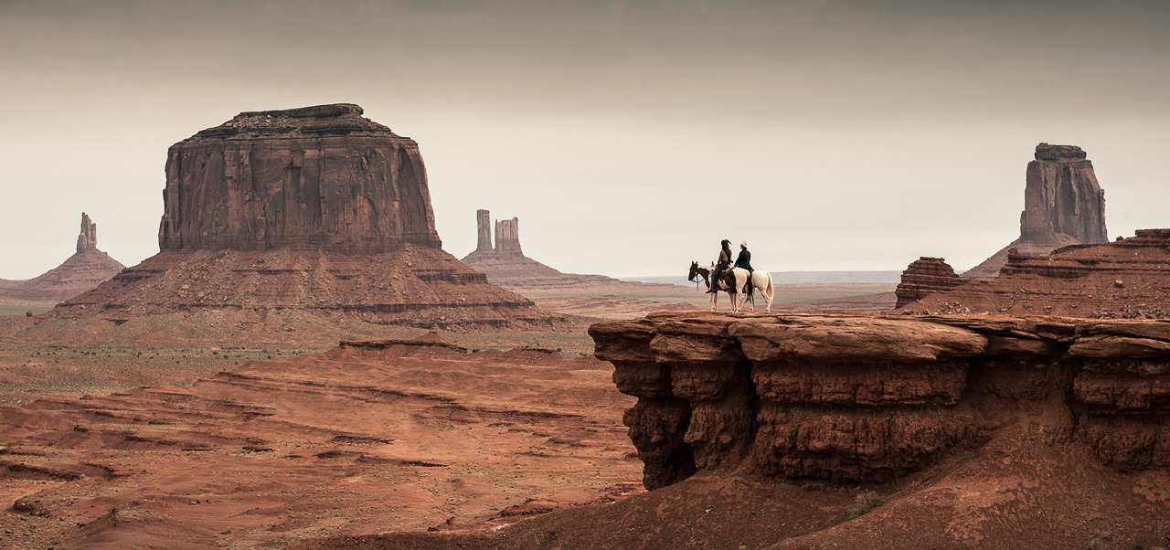 """Tonto and the Lone Ranger looking towards the west in the movie """"The Lone Ranger"""""""