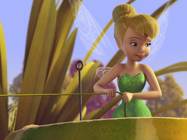 Tinker Bell puts the finishing touches on the Pixie Dust Express.