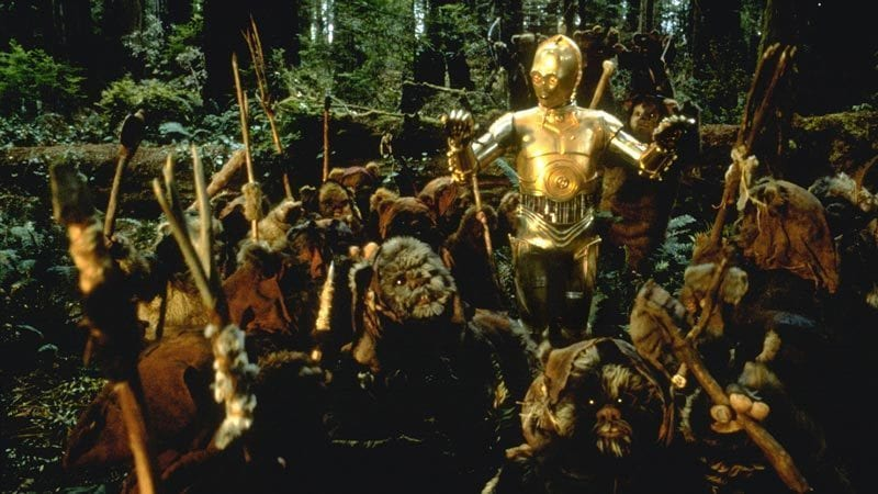 C-3PO surrounded by Ewoks