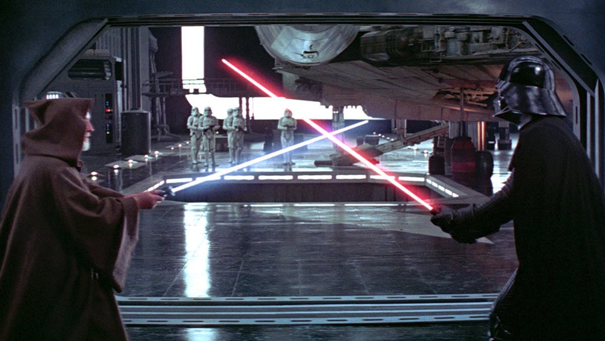 Darth Vader dueling Obi-Wan Kenobi on the Death Star
