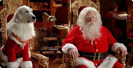 Santa Clause and Santa Paws looking regal.