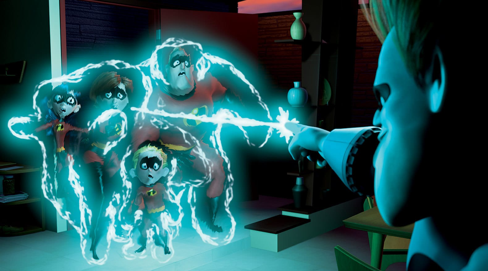 """Syndrome keeps The Incredibles at bay with his zero gravity tool in """"The Incredibles"""""""