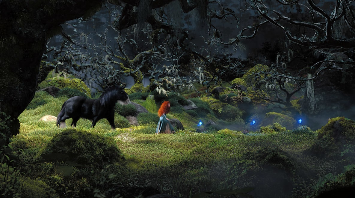 Merida, voiced by Kelly Macdonald, and her horse Angus in the woods walking towards Wisps in the movie Brave