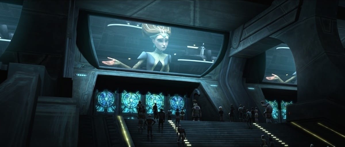 Padme Amidala broadcasting a speech to the citizens of Coruscant