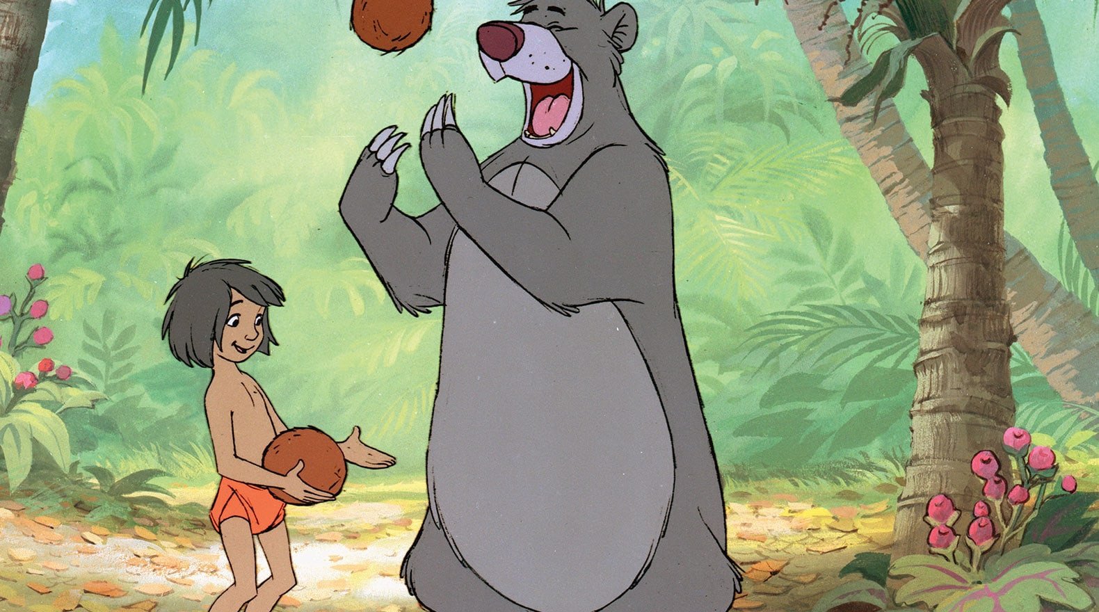 Baloo teaches Mowgli about the bare necessities of life.