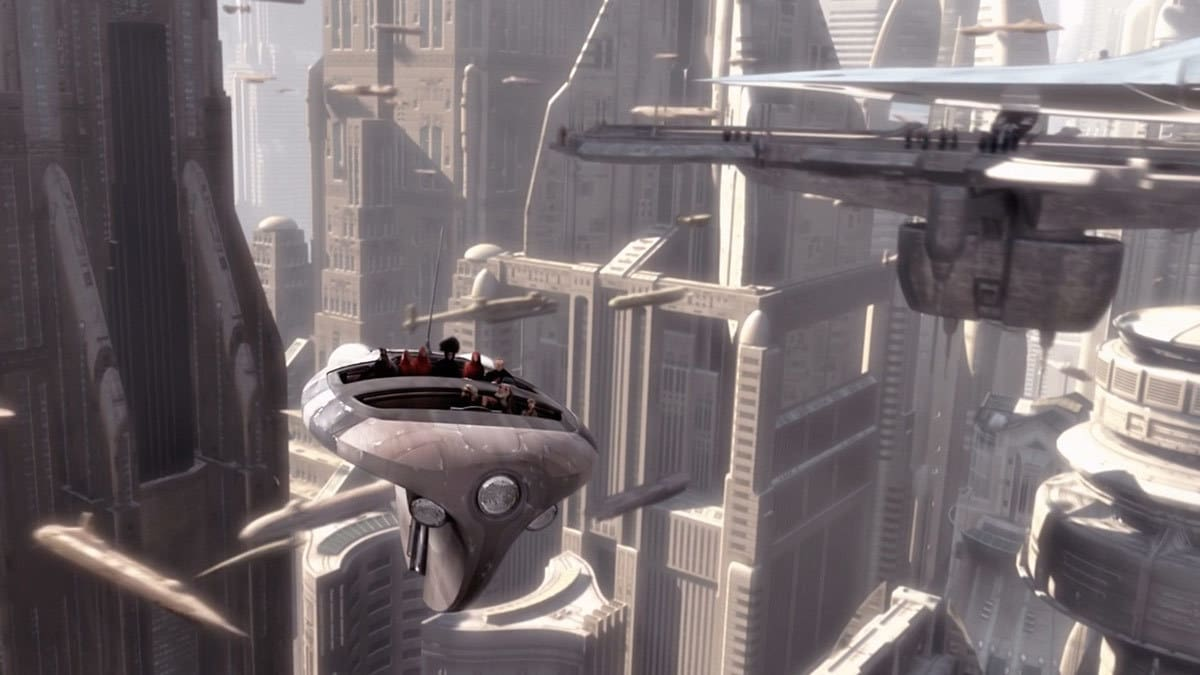 A transport flying through the Coruscant skyline
