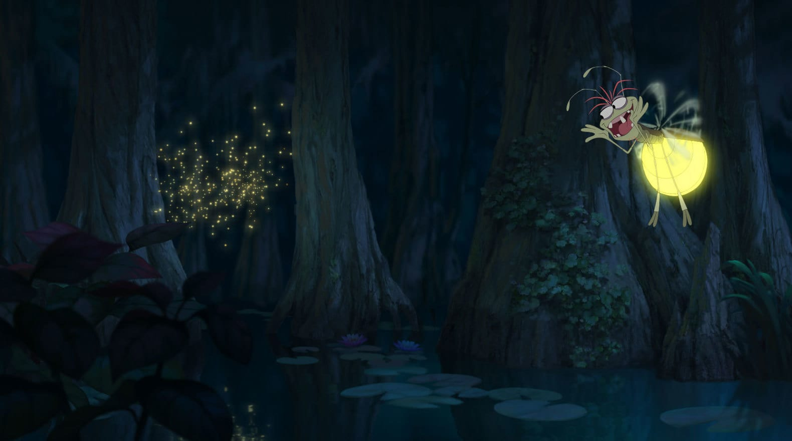 Ray a firefly voiced by Jim Cummings singing in front of a swarm of fireflies