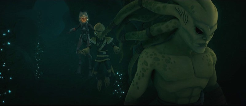 Kit Fisto and Ahsoka Tano underwater on Mon Cala