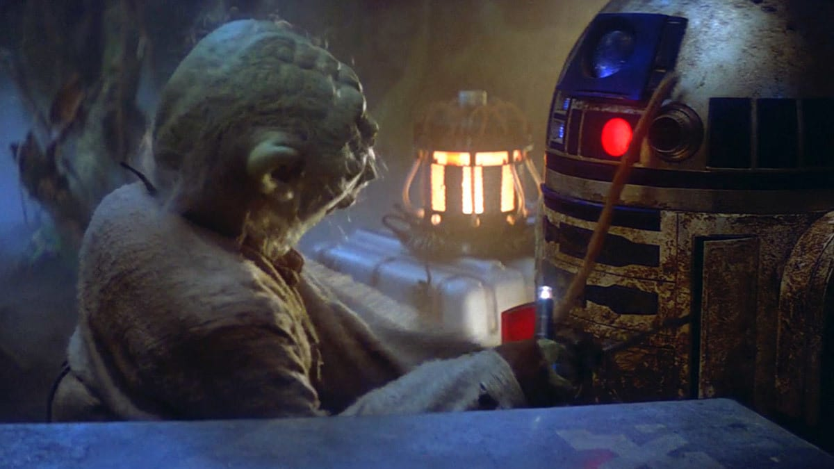 Yoda and R2-D2 on Dagobah