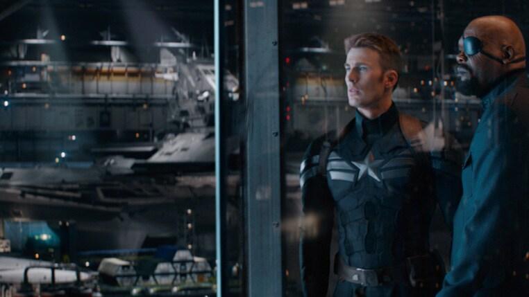 Actors Samuel L. Jackson (Nick Fury) and Chris Evans (Steve Rogers/Captain America) in Captain America: The Winter Soldier.