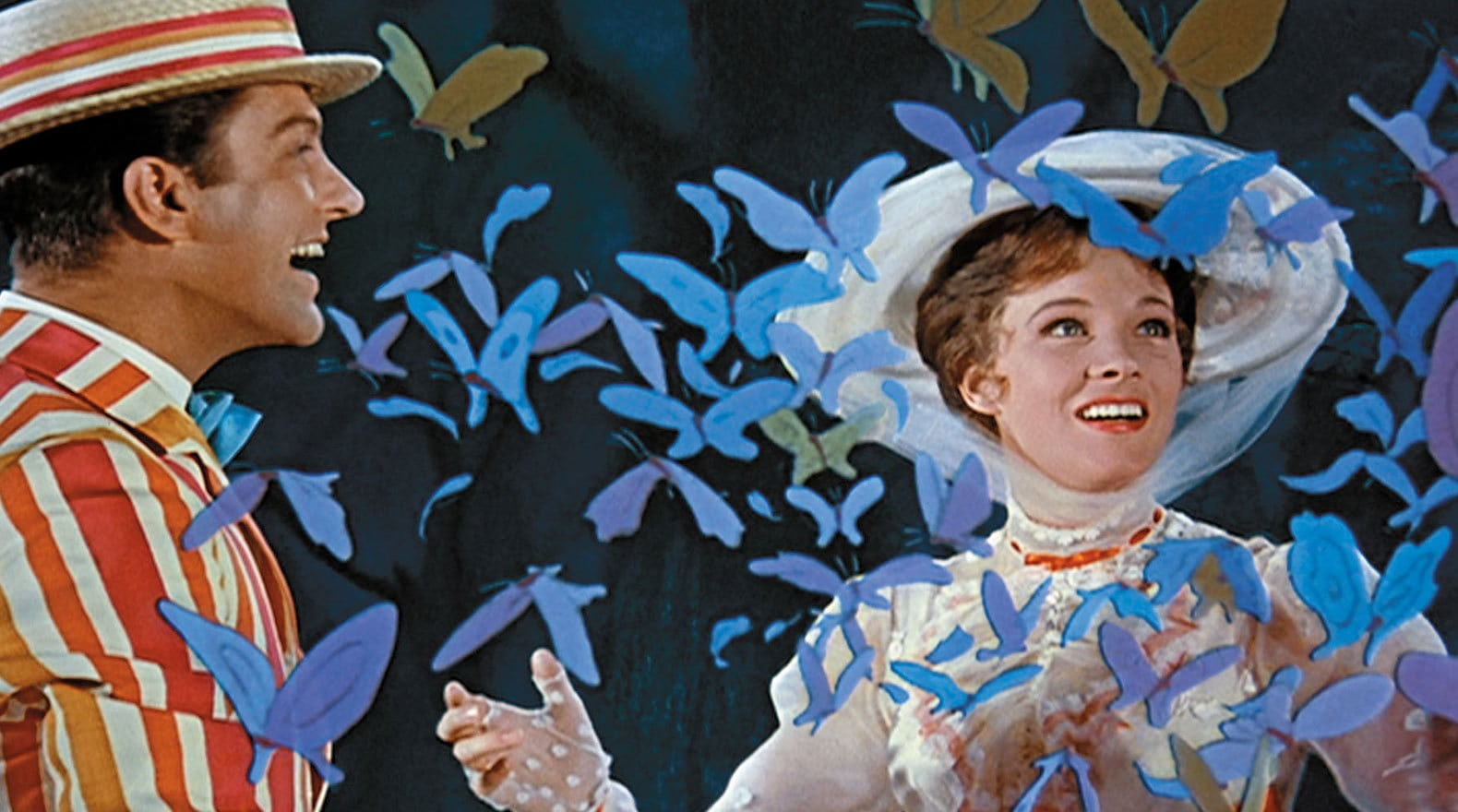 """Julie Andrews as Mary Poppins surrounded by butterflies in """"Mary Poppins"""""""