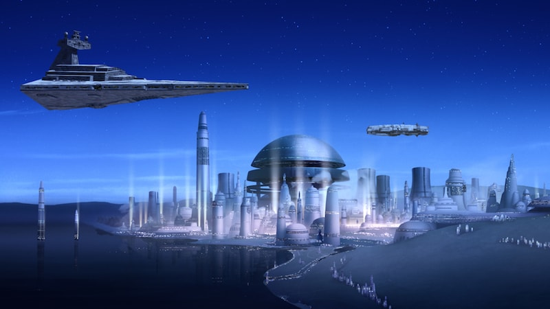 An Imperial Star Destroyer hovering above Lothal