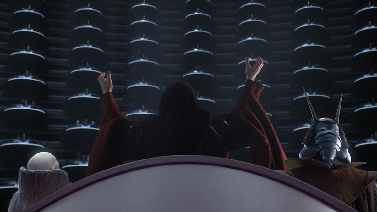 Darth Sidious declaring himself Emperor