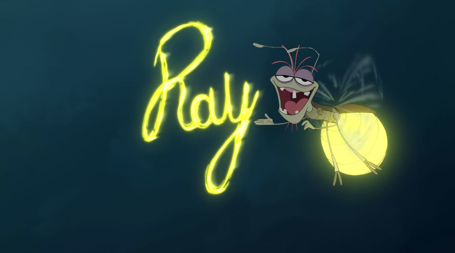 Ray a firefly voiced by Jim Cummings writes his name in lights