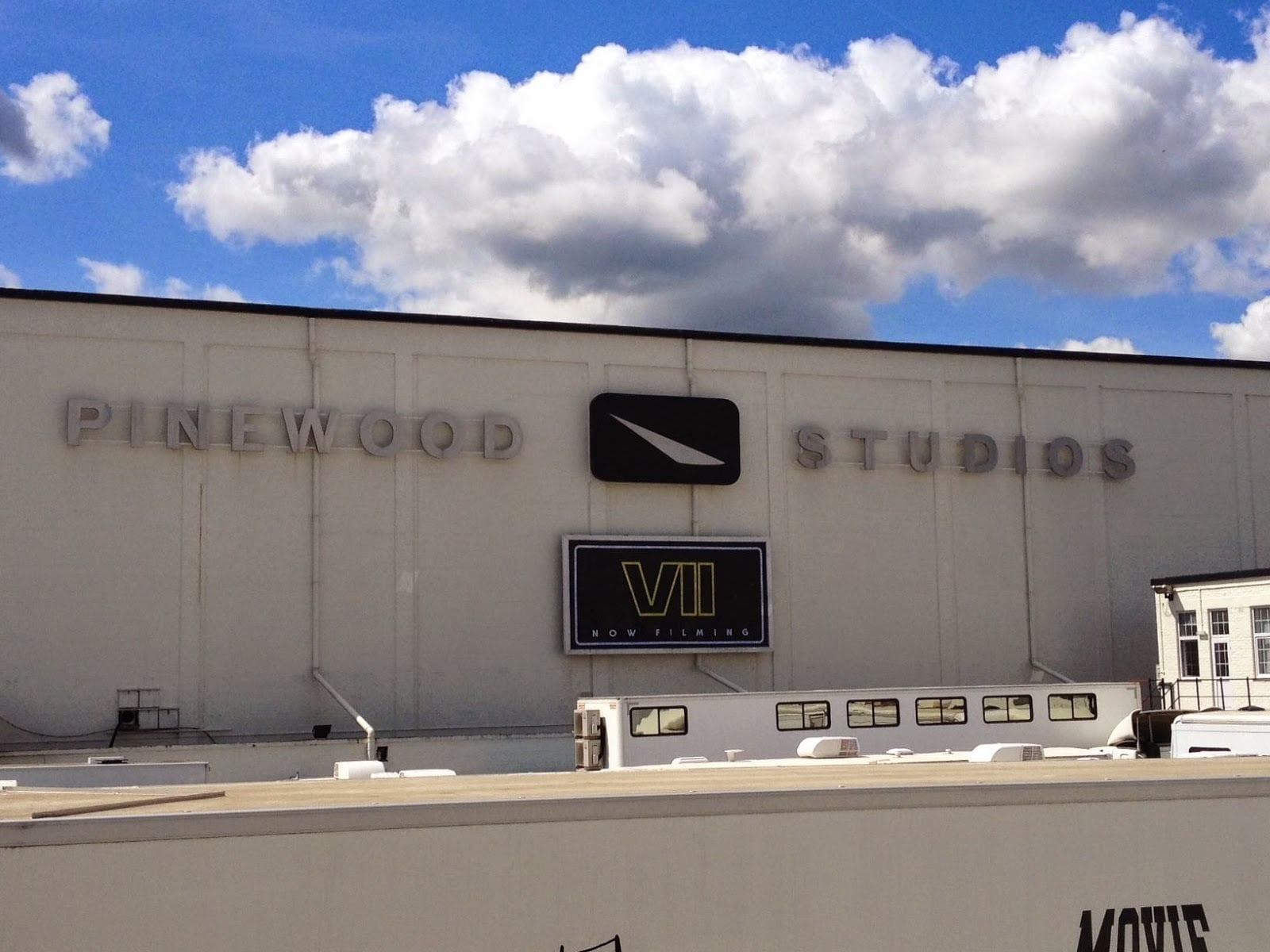 The front of Pinewood Studios during the production of Star Wars: The Force Awakens.