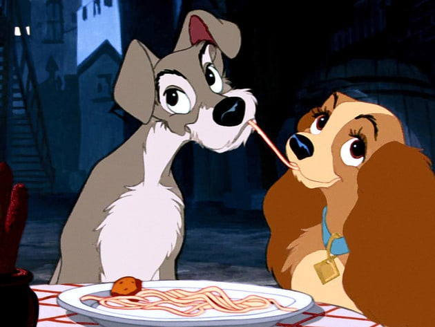 On Lady and Tramp's date, they end up falling in love over a plate of spaghetti and meatballs.