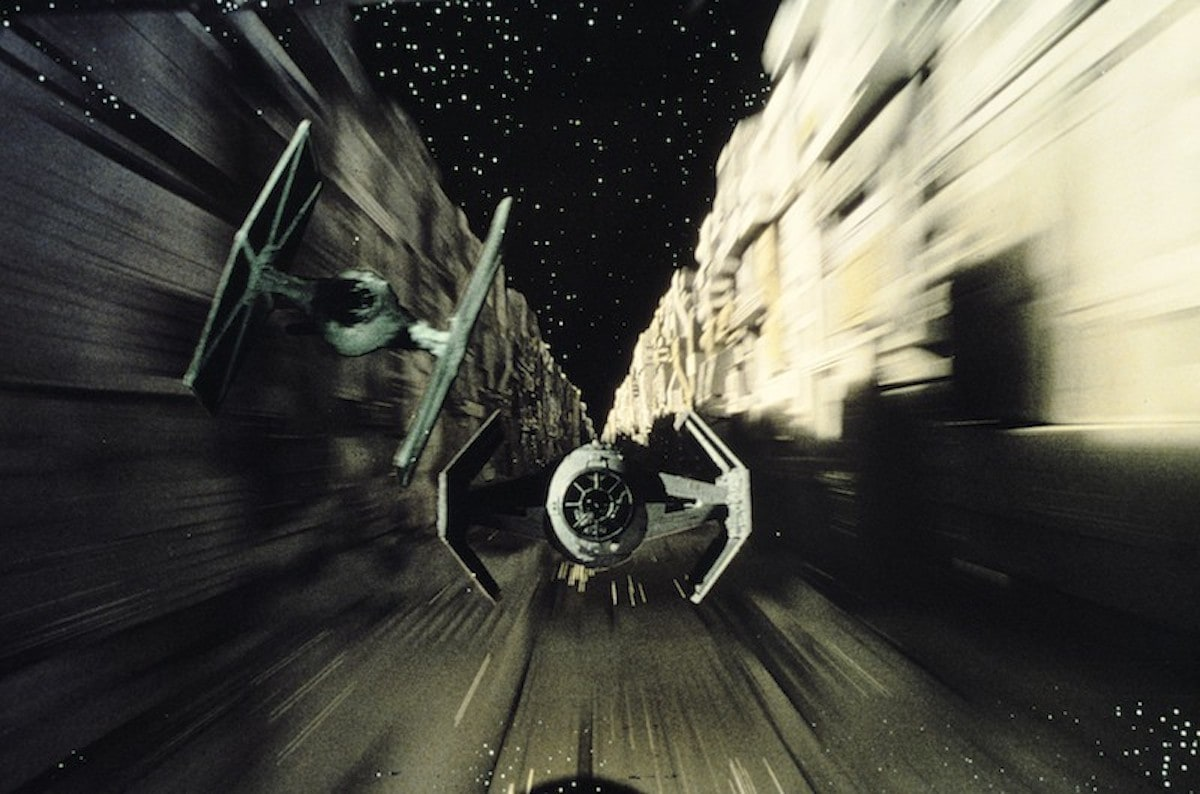 Vader's TIE Advanced and a TIE Fighter escort during the Battle of Yavin