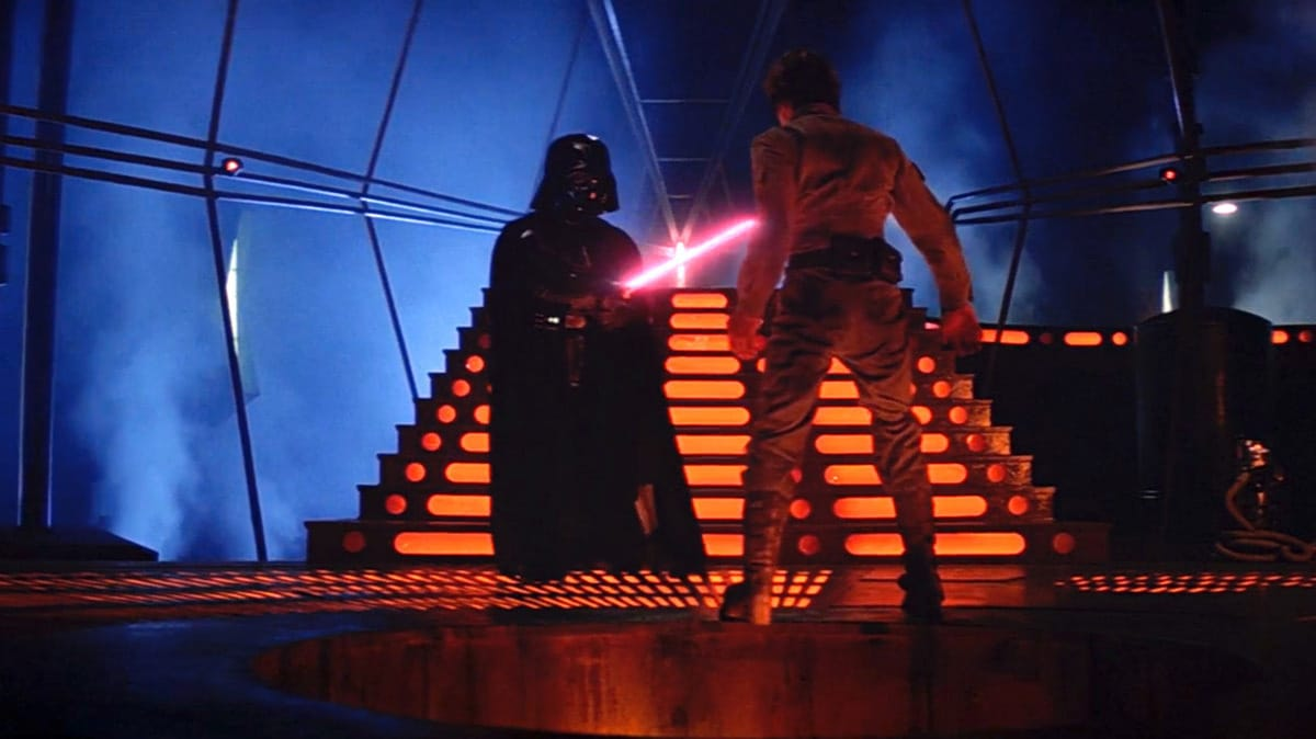 Darth Vader dueling Luke Skywalker in Cloud City