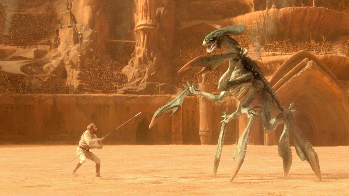 Obi-Wan Kenobi fighting an Acklay on Geonosis
