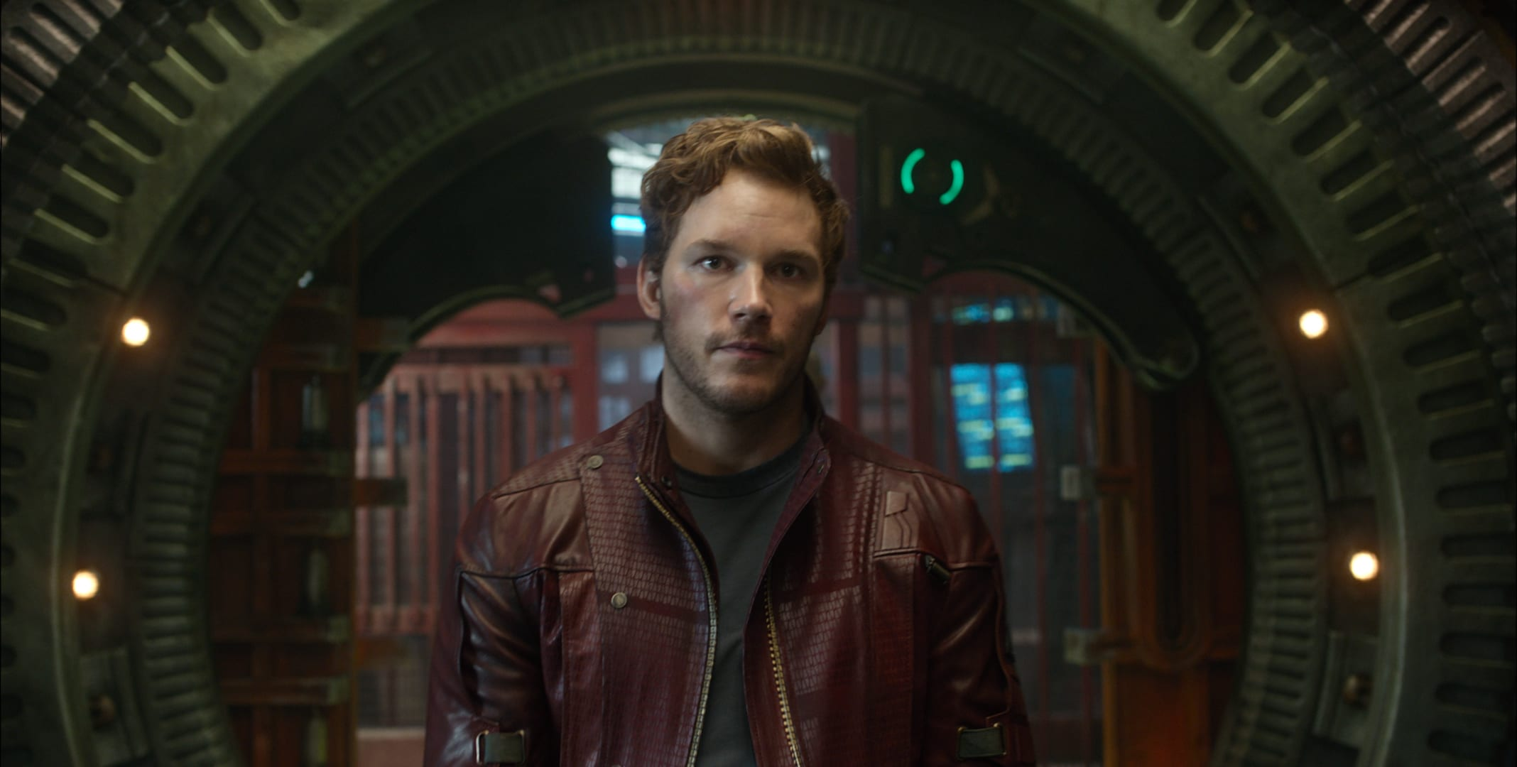 Peter Quill aka Starlord in a space prison in the movie Guardians of the Galaxy