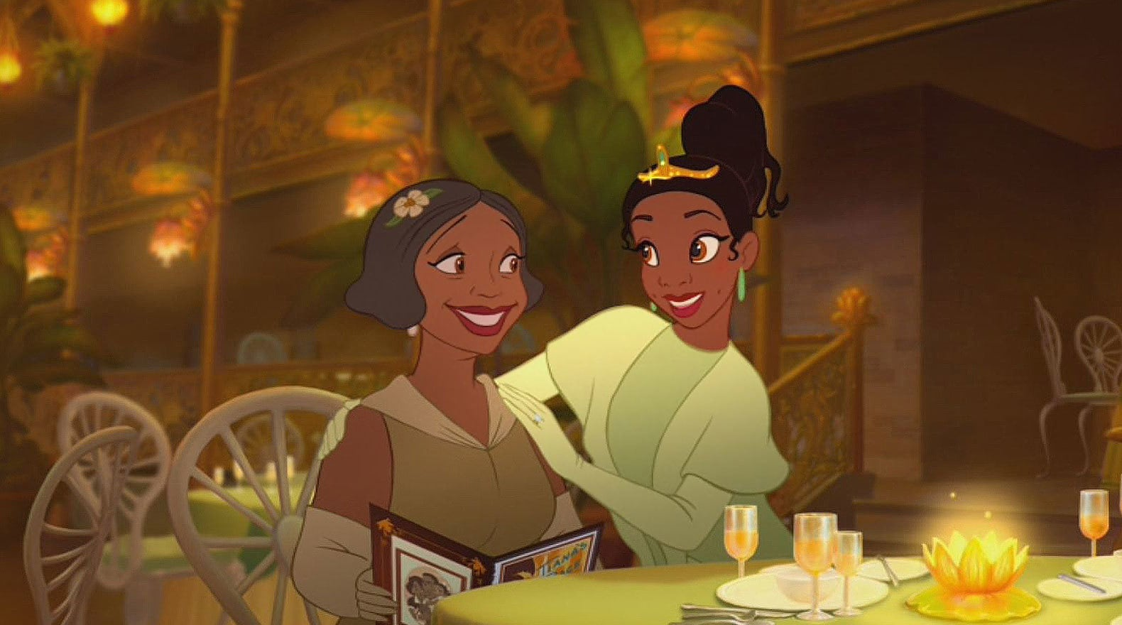 Eudora voiced by Oprah Winfrey and Tiana voiced by Anika Noni Rose at her restaurant opening