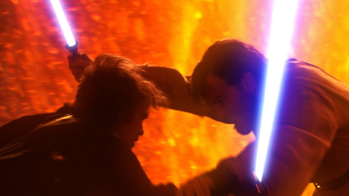 Anakin Skywalker and Obi-Wan Kenobi dueling on Mustafar