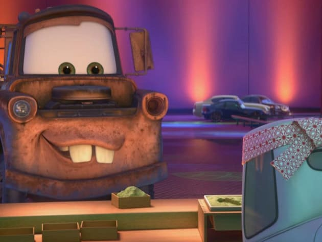Mater learns an important lesson in Japan: wasabi is NOT pistachio ice cream.