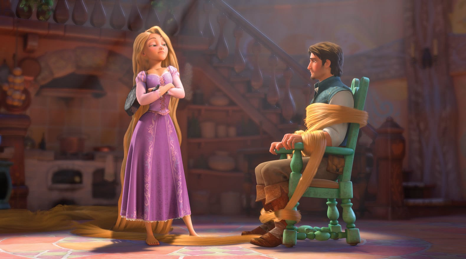 Rapunzel voiced by Mandy Moore ties up Flynn Rider voiced by Zachary Levi,  using her hair