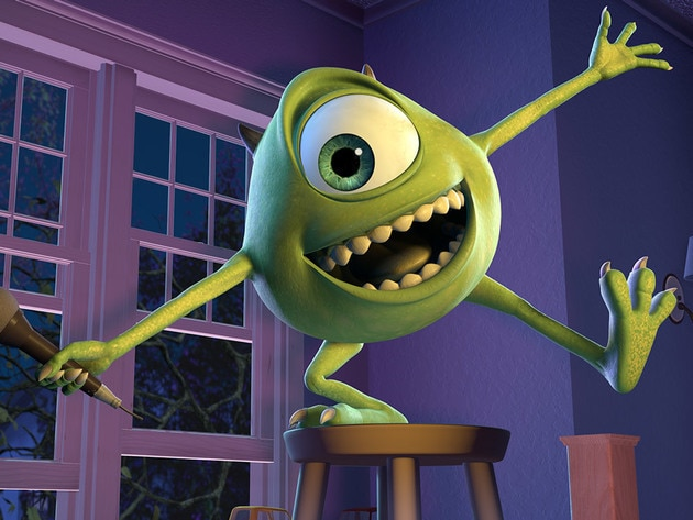 Mike gets to take the spotlight now that Monsters, Inc. is in the business of laughs.