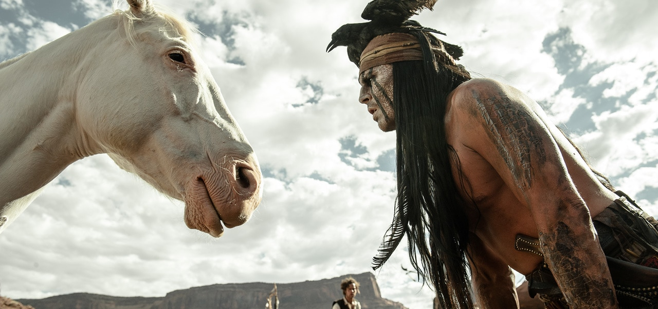 """Tonto meets Silver for the first time in the movie """"The Lone Ranger"""""""