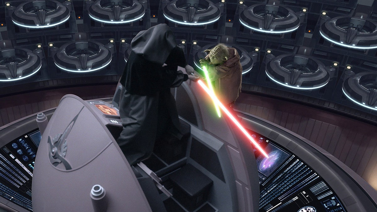 Yoda dueling Darth Sidious in the Galactic Senate Chamber