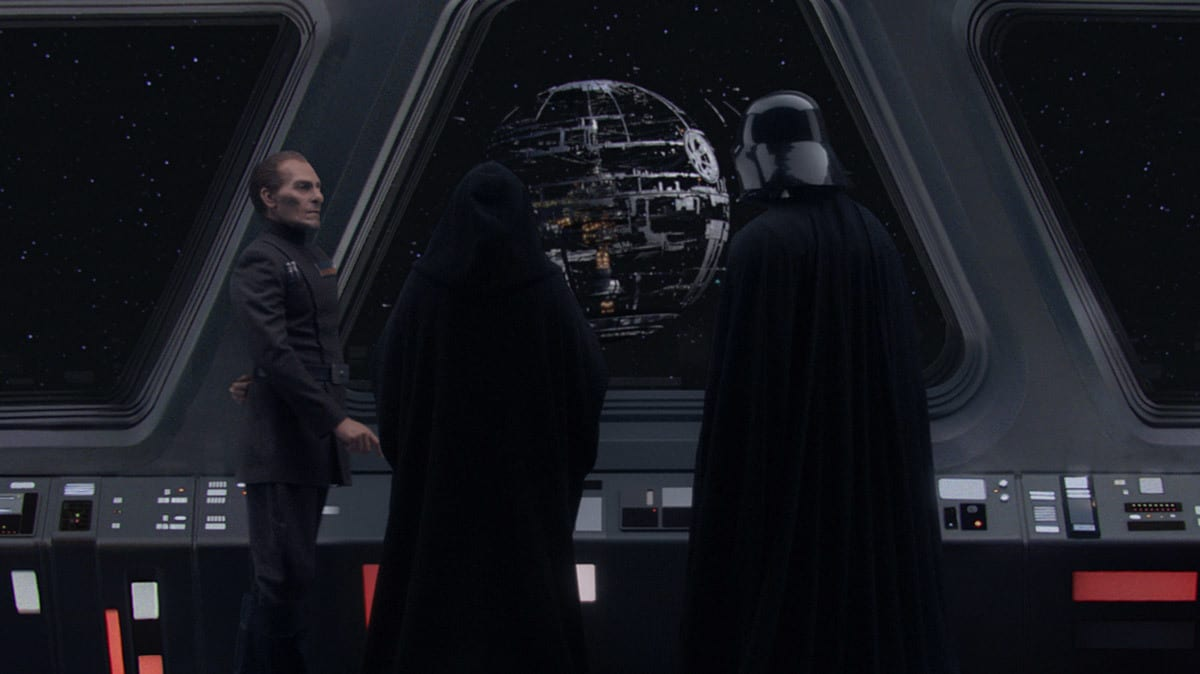 Tarkin, Sidious, and Vader overseeing the Death Star's construction