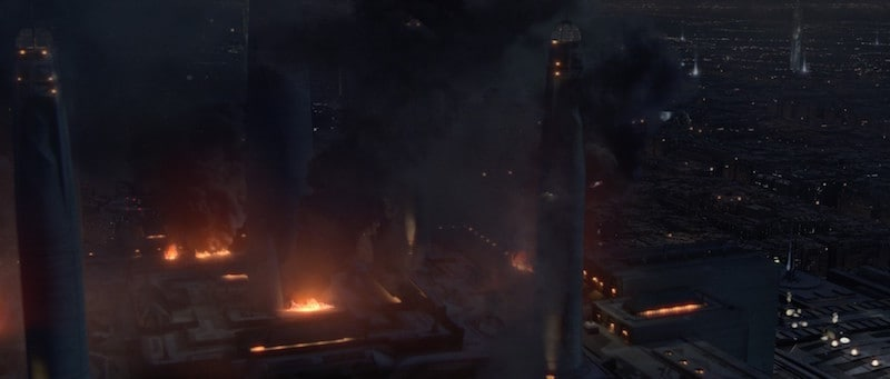 The Jedi Temple set ablaze during Order 66
