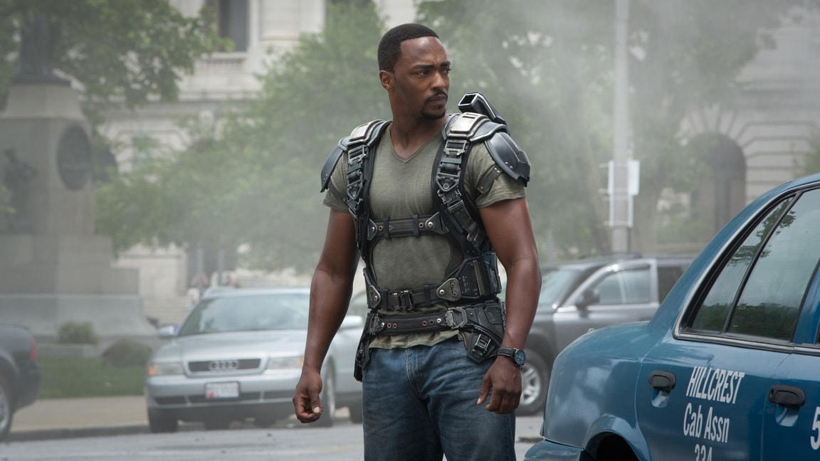 Actor Anthony Mackie (Sam Wilson/Falcon) in Captain America: The Winter Soldier.