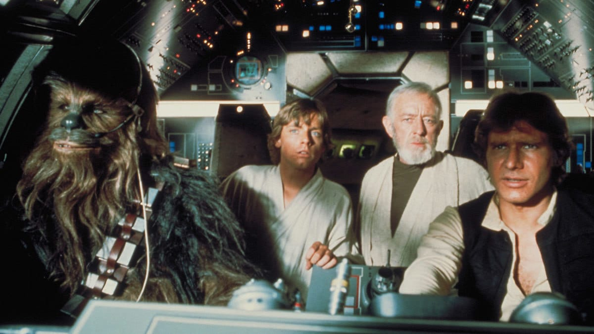 Chewbacca, Obi-Wan Kenobi, Luke Skywalker, and Han Solo on Millennium Falcon