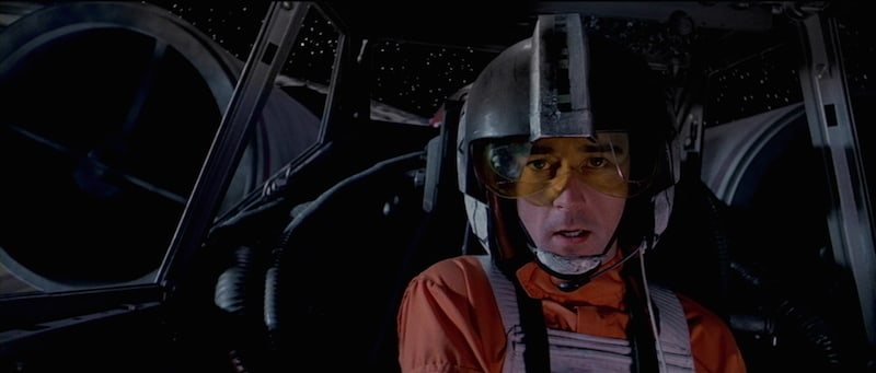 Wedge Antilles piloting an X-Wing starfighter during the Battle of Yavin