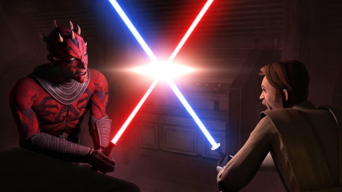 Obi-Wan Kenobi dueling Darth Maul during The Clone Wars