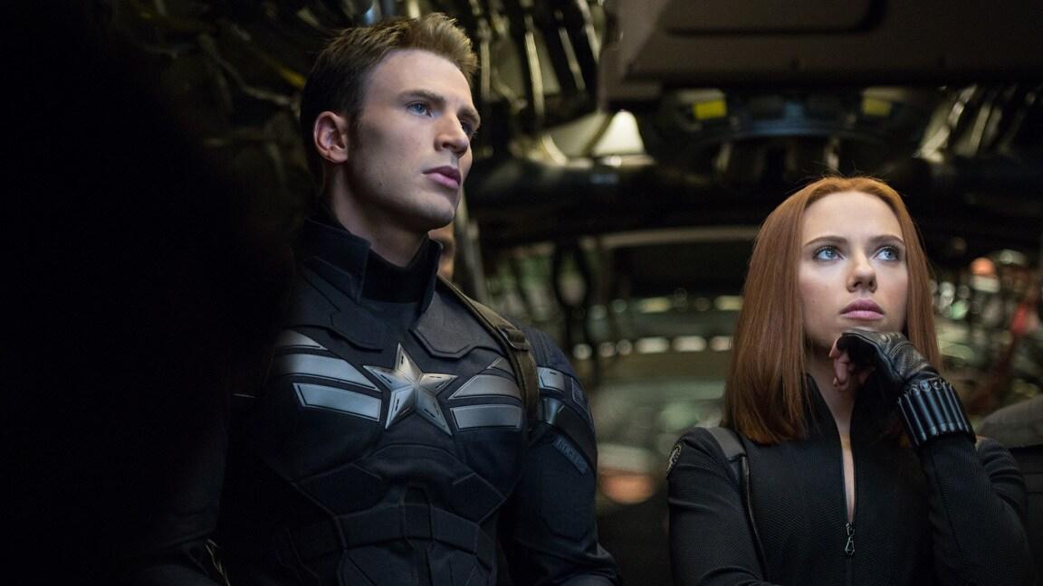 Actors Chris Evans (Steve Rogers/Captain America) and Scarlett Johansson (Natasha Romanoff/Black Widow) in Captain America: The Winter Soldier.