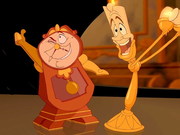 Cogsworth and Lumiere cheer the Beast on when dancing with Belle.