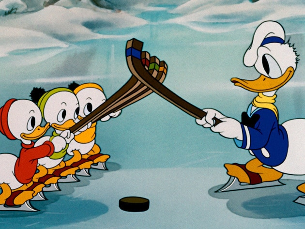 Huey, Dewey, Louie, and Donald give winter sports a try.