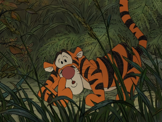 Shhh. Tigger is busy tracking the Backson.