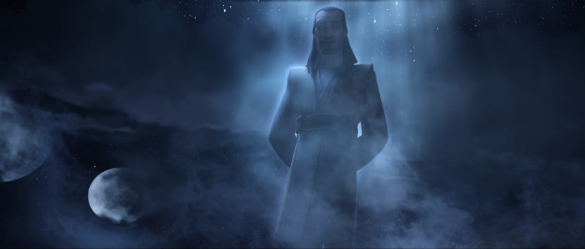 Qui-Gon Jinn appearing as a Force ghost on Mortis