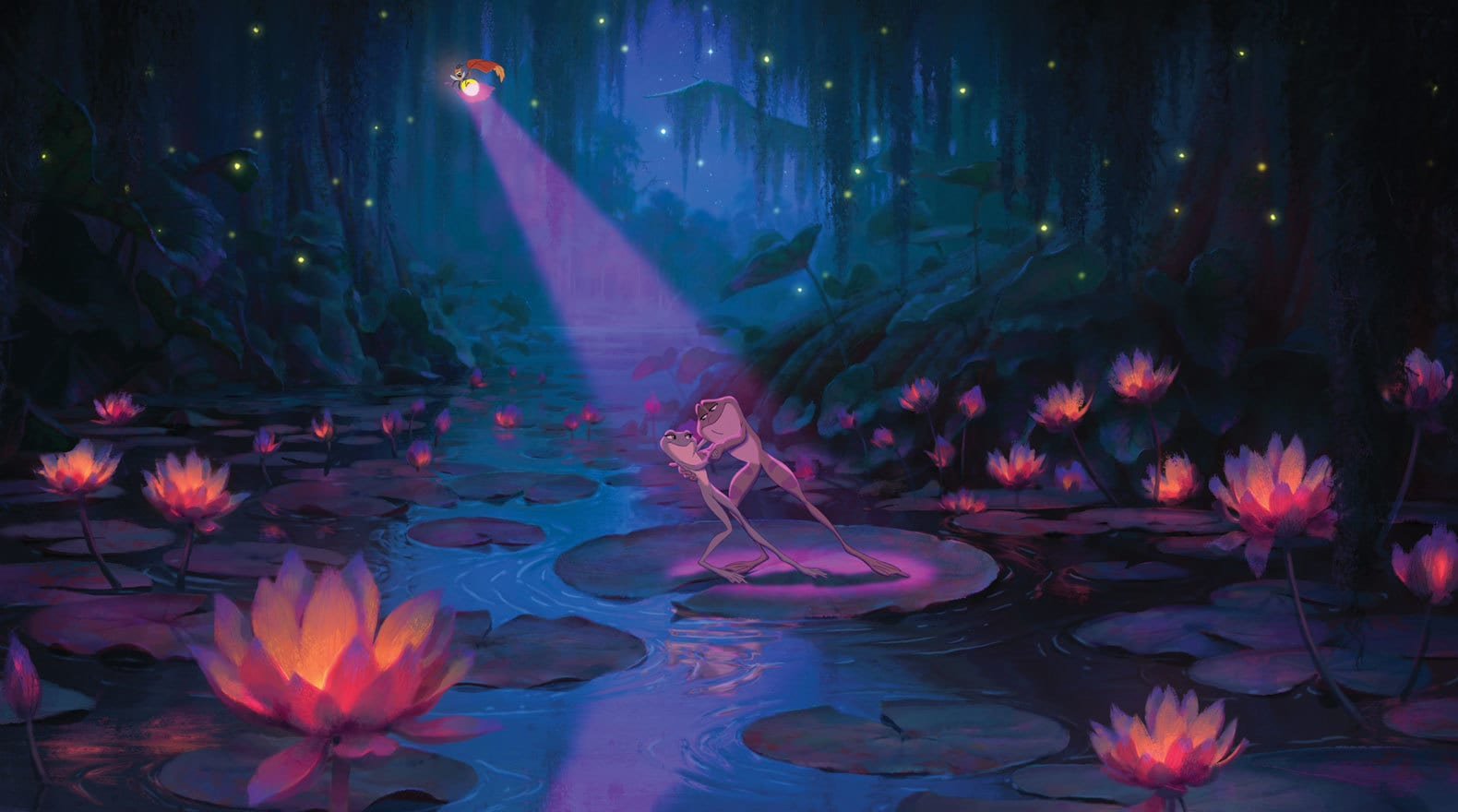 as Frogs, Tiana and Naveen dance by the light of the fireflies.