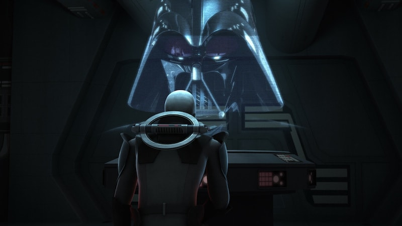 Darth Vader addressing the Grand Inquisitor on a holocall